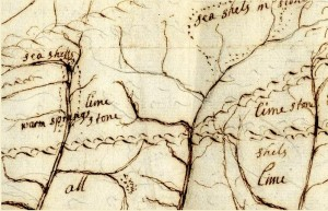 Detail from John Bertram's map of the Susquehanna (1742) showing the presence of seashells on the mountains of Central Pennsylvania. This discovery convinced the botanist of the truth of the Biblical story of the flood.