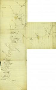 Joseph Shippen's Four Part Map of the Susquehanna River, 1756